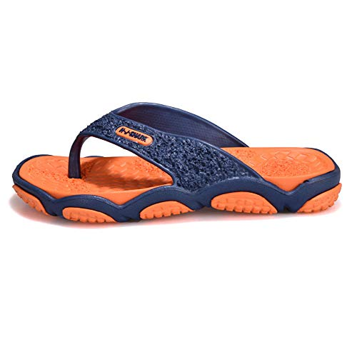 bjyxszd Chanclas de Zapatos para la Playa Sandalias Suaves de Verano,Zapatos de Playa para Hombre de Primavera y Verano,Zapatos de Playa,Masaje de pie de pellizco Anti-Arena-Naranja Azul Oscuro_39