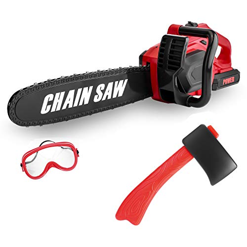 """Kids Size Construction Yard Toy Pack Tool Big Play Realistic Giant Chainsaw with Sound, Toddlers Pretend Play Yard Work Lawn Equipment Giant Plastic 20"""" Chains Saw for Boys Garden Tool"""