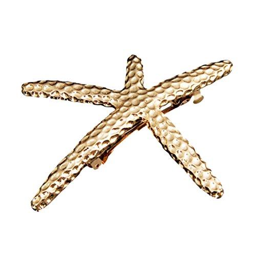 chiwanji Stilvolle Boho Feder/Blatt/Seestern Form Haarspange BarretteWomen Haarschmuck - Gold
