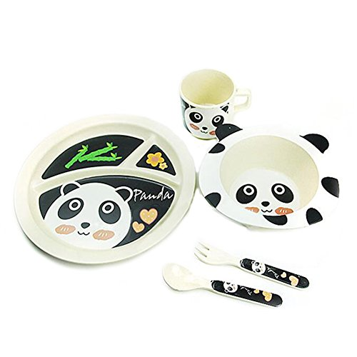 Gouptec Kids 5pc Dinner Snacks And The Food Set Designer Ecobamboo Ware Dishes (Panda)