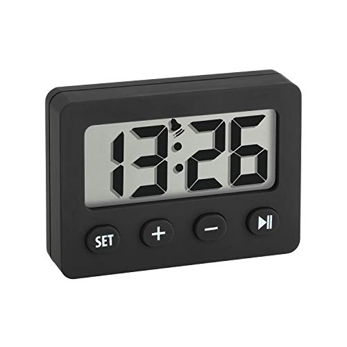 SELVA - Sveglia digitale con timer e cronometro, piccola, compatta, facile da usare (nero)