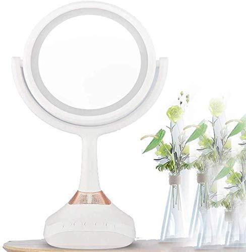 Espejos de tocador de baño Espejos con luces Espejo de maquillaje LED iluminado con aumento de 1X / 5X, luz de tocador portátil de doble cara con pilas o USB para maquillaje de lámpara de escritorio