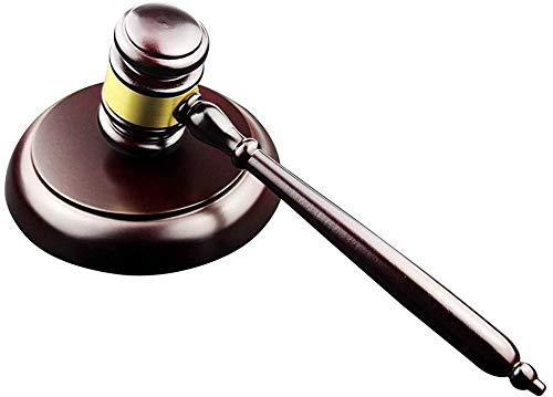 Holzhammer und rundem Block-Set, handgefertigt, mit Block für Rechtsanwalt, Richter, Auktionskreis