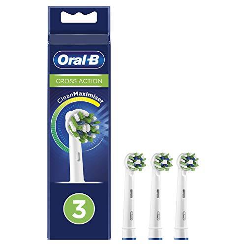 Oral-B CrossAction Testine di Ricambio per Spazzolino Elettrico con Tecnologia CleanMaximiser, Confezione da 3 Pezzi
