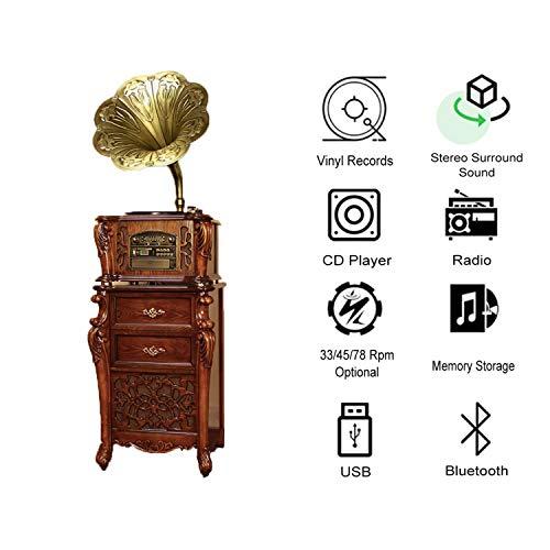 GOM platenspeler Bluetooth USB, 5-in-1 platenspeler met 3 snelheden, geïntegreerde stereo-luidsprekersystemen, cinch-uitgang, cd-speler, radio, Bruin
