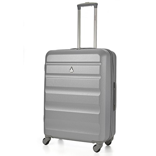 Aerolite Lightweight 25' ABS Hard Shell Travel Hold Check in Luggage Suitcase with 4 Wheels (Silver)