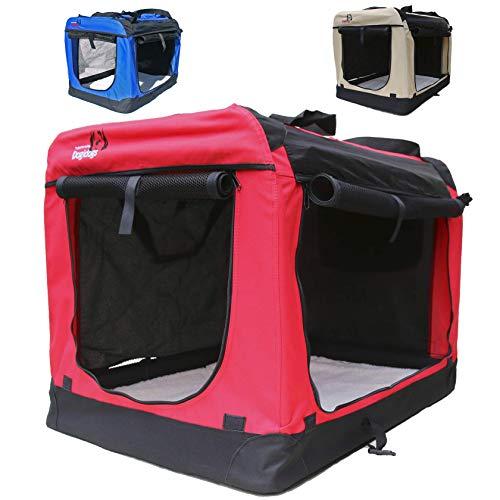 Hundetransportbox faltbar Transportbox für Hunde Hundebox Auto - Dogi Kennel - 6 Größen - 3 Farben (XL (81 x 58 x 58 cm), Rot)