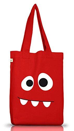 Shirtstreet24, MONSTER, Karneval Fasching Kostüm Jutebeutel Stoff Tasche Earth Positive, Größe: onesize,Red