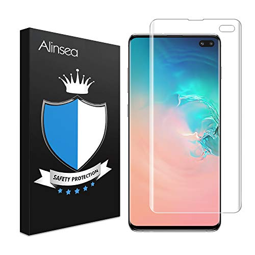 Alinsea Schutzfolie für Galaxy S10 Plus, [Fingerabdrucksensor Kompatible] [9H Härte] [Einfach Installation] [Blasenfreie] 3D Displayschutzfolie für Samsung Galaxy S10 Plus