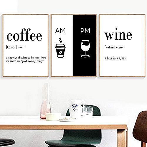 Minimalistische Koffie Wijn Posters En Prints Quotes Wall Art Canvas Schilderij Zwart Wit Poster Muur Foto 'S Voor Woonkamer Decor 40x60cmx3 zonder lijst