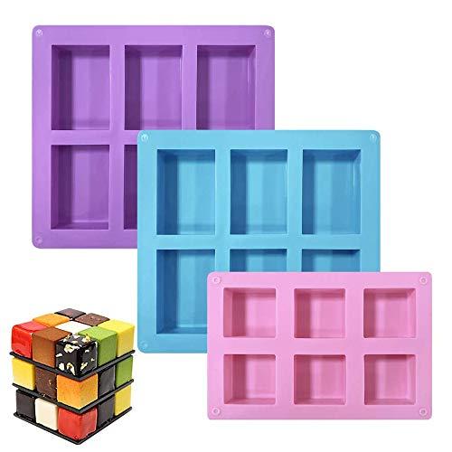 GiantGo 3 paquetes de moldes de pastel de silicona, Bandejas de jabón...