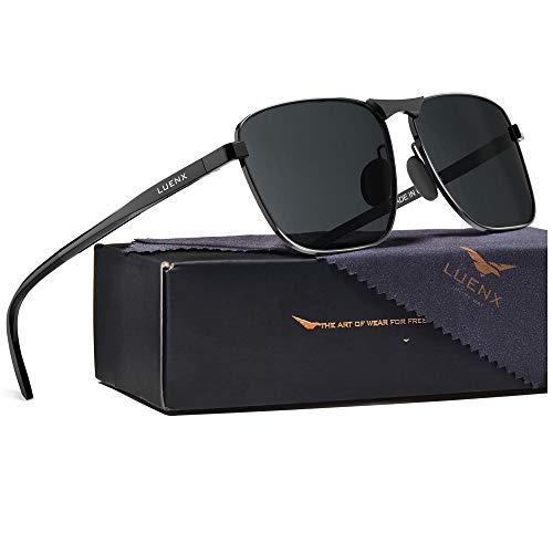 LUENX Men Rectangular Polarized Sunglasses Square Retro Shades - Black Lens Black Frame 60MM
