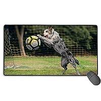 犬遊ぶサッカー 草 面白い マウスパッド 大型 ゲーミングマウスパッド キーボードパッド 防水マウスパッド 拡張マウスパッド 滑り止め ゲーム向け オフィス おしゃれ 750*400*3mm