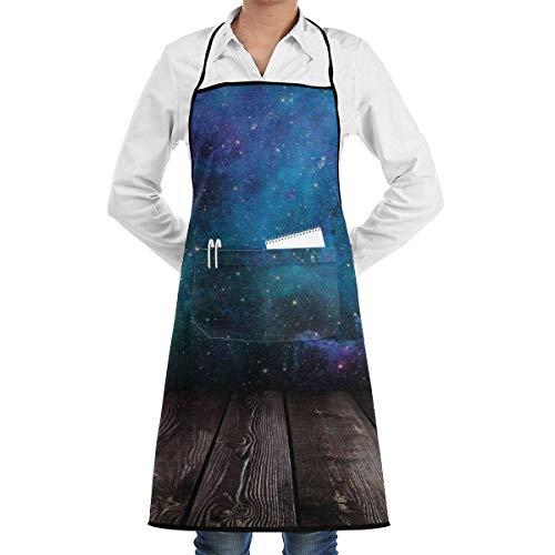 Galaxy Rustic Holzdeck Nebula Star Unisex Chef Koch Küche Schürze Langlebige Mode Schürzen Lätzchen mit Tasche für Restaurant Cafe Home Grill Grill Backen Garten Handwerk Basteln Gemälde