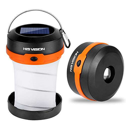 HISVISION Solar Powered LED Camping Lantern, Collapsible Solar or USB Rechargeable, Emergency Charger for Phone, Portable 4 Modes LED Lights for Camping Hiking Fishing Emergency Outdoor & Home