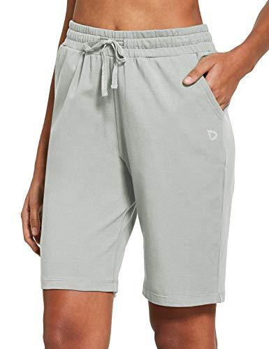 BALEAF Damen Bermuda Shorts Lang Baumwolle Jersey mit Taschen Athletic Sweat Walking Knielang für Sommer Workout - Weiches knielanges Bügeln, grau, size: Groß