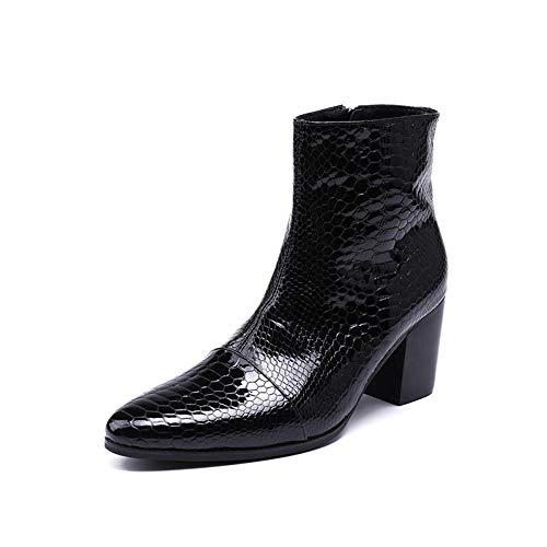 DEAR-JY Spitzlederschuhe für Herrenschuhe,Casual Mode Persönlichkeit erhöhen Spitzen Herren Lederstiefel,Cowboy mit hohem Absatz,Echtes Leder Motorradstiefel,Herren Uniform- & Berufsschuhe,40 EU