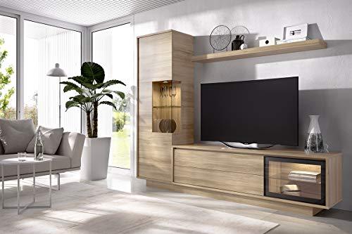 TV-wand Duo 16 - Lowboard met laden, incl. wandboard en hoge kast, benodigde ruimte: 238x194x45cm
