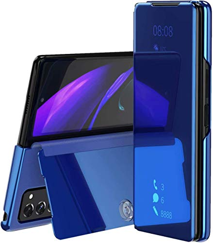 Larook Hülle für Samsung Galaxy Z Fold 2 5G, Luxus Spiegel Makeup Abdeckung Bright Crystal Flip Klappbarer Ständer Schutz Hülle Samsung Galaxy Z Fold 2 5G Blau