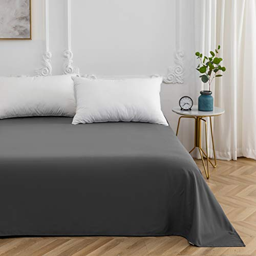 Mohap Bettbezug, 4-teilig, mit 2 Kissenbezügen, 65 x 65 cm und 1 Spannbetttuch, Bettwäsche für Doppelbett, grau, Drap plat 240x320cm