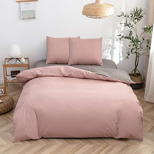 WZW Juego de ropa de cama de 3 piezas, 200 x 200 cm, 1 funda nórdica con cremallera y 2 fundas de almohada de 80 x 80 cm, 100% microfibra cepillada (130 g/m²)