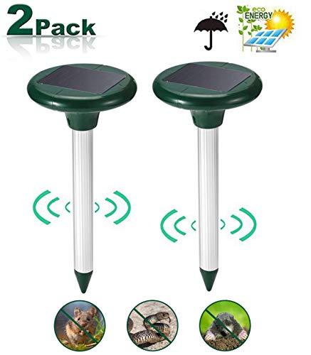 Viccioo 2 Stück Solar Maulwurfabwehr,Maulwurfschreck wasserfest Sonic Maulwurfvertreiber Wühlmausschreck Schädlingsbekämpfung, Draußen Rasen Gartenhöfe Nagetierbekämpfung