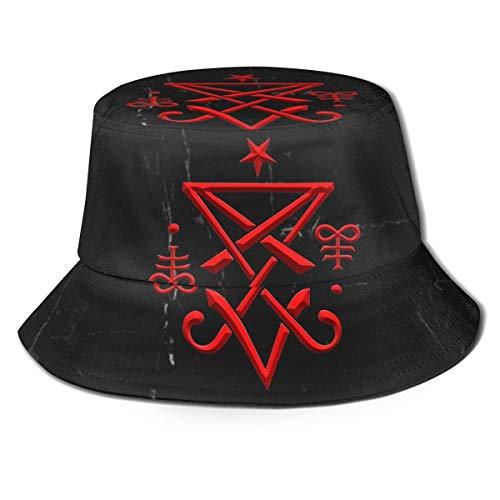 GYHJH Okkultes Siegel von Luzifer Satanischer Fischerhut Faltbarer Reisestrand-Sonnenhut
