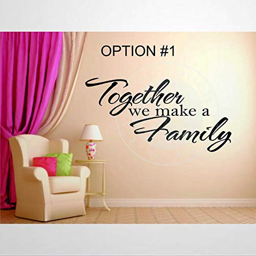 Vinilos adhesivos de pared y murales con cita familiar de la familia Together We Make A Family | Mural decorativo extraíble para dormitorio, sala de estar, guardería en interiores.