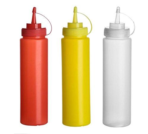 Elandy 3pcs Vide Rechargeable en Plastique Squeeze Sauce Condiment Bouteilles Récipient Assaisonnement Distributeur pour Ketchup Moutarde Sauce Vinaigre Crème Miel Vinaigrette (Couleur Aléatoire)