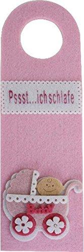 Pssst... ich schlafe / Baby Kind schlaft / Bitte nicht stören Poussette Rose 27 x 0,5 x 8,5 cm