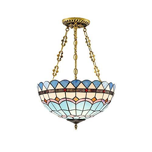 PGONE Tiffany Mediterranean Suspension Half Hanging Lamp Mosaic Vitral Inverted Techo Lámpara Colgante, Hotel Home Dormitorio Cafe Iluminación, E27x1