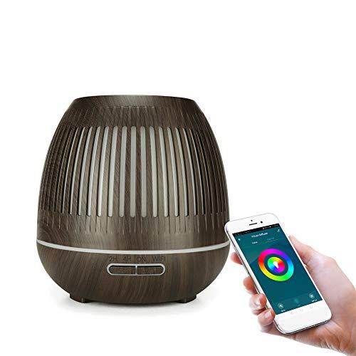Smart WiFi Diffusor für ätherische Öle, App-Steuerung, 400 ml Aroma-Luftbefeuchter Zerstäuber für Luftreinigung und entspannende Atmosphäre, 7 LED Farben für Raum,Büro,Yoga,Spa,usw,Dark wood grain