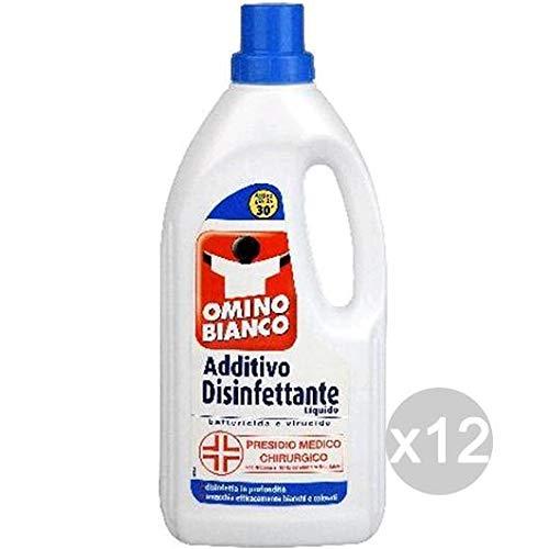 Omino Bianco Set 12 Additivo Disinfettante Liquido Ml 900 Detersivo Lavatrice E Bucato, Multicolore, Unica
