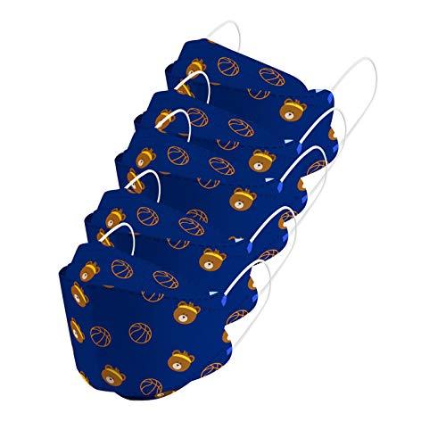 YINGXIONG 5 Stück Kinder Mundschutz mit Motiv Niedlich Tier Druck,3D Einweg_4-lagig Mund-Nasen-Schutz,Hohe-Filtration,Staubdicht,Atmungsaktiv Mund-Nasen Bedeckung für Jungen Mädchen