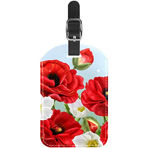 Luggage Tags Red Poppies and White Anemones Flowers Leather Travel Suitcase Labels 1 Packs