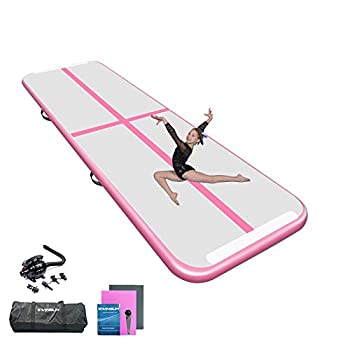YAOHUOLE 10ft Pink Color Air Tumbling Mat Air Tumbling Floor Mat for Gymnastics/Yoga/Taekwondo/Water Floating/Camping Training with Electric Pump Perfect for Home Use Beach Park and Pool