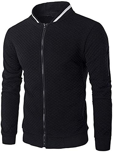 Veravant Sweat-Shirt Homme Manches Longues Pull Uni Zippé Bomber Blouson Veste Sport - Noir - Medium