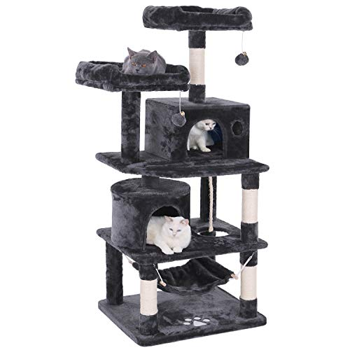 BEWISHOME Cat Tree Condo Tower Kitten Furniture Activity Center Pet Kitty Play House with Sisal Scratching Posts Perches Hammock Grey MMJ01B