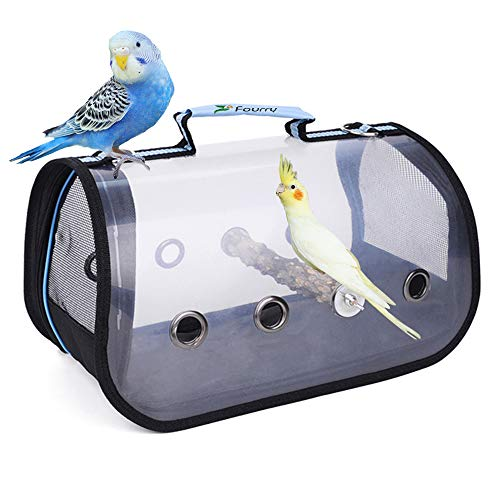 Fourry Lightweight Bird Carrier, Transparent and Breathable 360 ° Sightseeing Outdoor Bird Travel Backpack,Suitable for Parrot Pets and Bird Habitat,Portable Bird Cage-Blue_S :13x 7 x 7