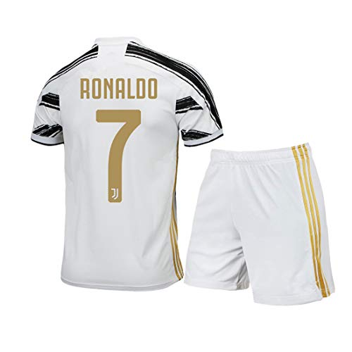 #7 Ronaldo Home Kids/Youth 2020-2021 Season Soccer Shirt Shorts(White/Black,7-8Years)