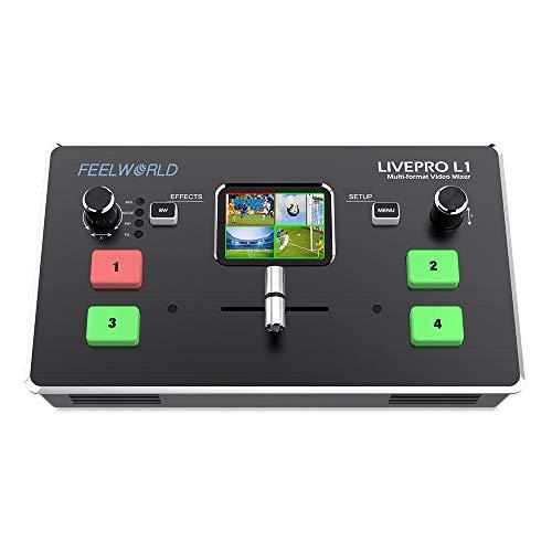 Feelworld LIVEPRO L1 Mini-Videomixer mit Mehreren Formatumschaltern 4 x HDMI-Eingänge 2-Zoll-LCD-Display live-Streaming mit Echtzeit-Produktion für mehrere Kameras