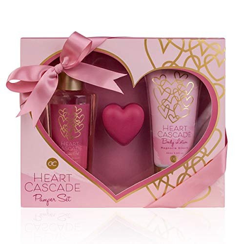 Accentra Beauty Geschenkset HEART CASCADE in Herz- Geschenkbox, 3-teilig mit Duschgel, Bodylotion und Lippenbalsam, Set in blumigen Magnolia Dream Duft zur Haut und Körperpflege