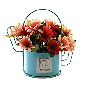 Henmoss Cactus Wrought Iron Flowerpot Artificial Flowers Decorative Color Iron Bucket Ornaments for Family Wedding Blue Basin + Red Cosmos 2 Bundle