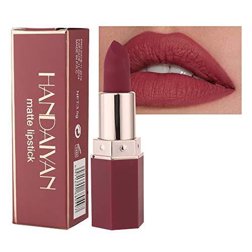 GL-Turelifes Lápiz labial mate Lápices labiales rojos aterciopelados Impermeable Suavizado de larga duración Taza antiadherente Lápices labiales de colores atractivos (# 05 Umber)