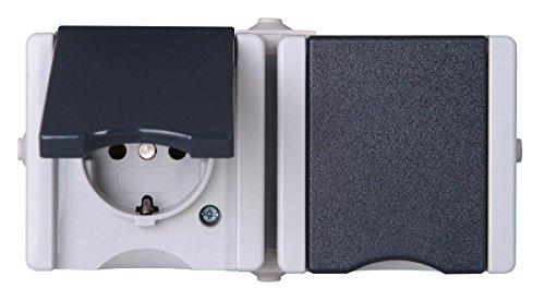 Kopp 950656001 Pro AQA Aufputz-Feuchtraum Schalterprogramm Schutzkontakt-Steckdose 2-fach mit Deckel waagerecht