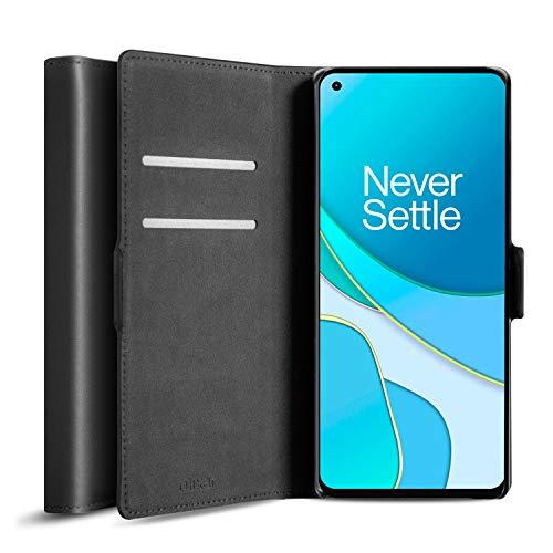 Olixar Funda tipo cartera para OnePlus 8T – Funda de piel auténtica – Almacenamiento de tarjetas de crédito – Soporte integrado – Compatible con carga inalámbrica – Negro
