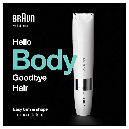 Braun Body Mini Trimmer BS1000, Electric Body Hair Removal for Men, Precision Hair Removal for Chest, Underarm, Pubic Area, Quick & Easy, Wet & Dry, with Trimming Comb, Perfect for On-the-Go, White