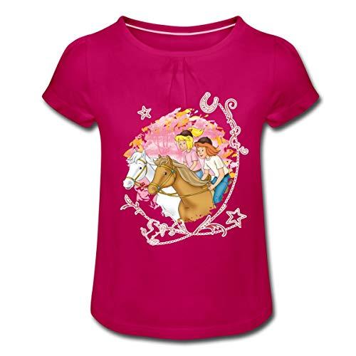 Bibi Und Tina Wettreiten Im Wald Mädchen T-Shirt mit Raffungen, 4 Jahre, Fuchsia