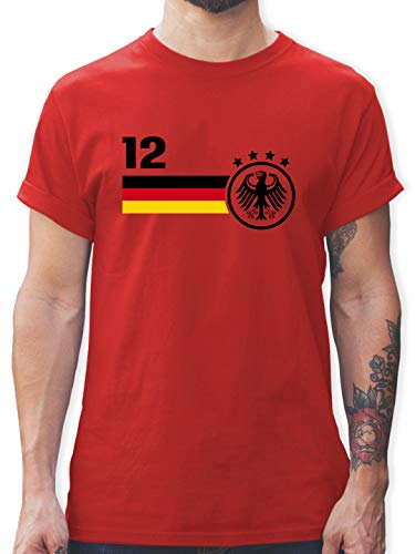 Fussball EM 2021 Fanartikel - 12. Mann Deutschland Mannschaft EM - XL - Rot - wm 2018 - L190 - Tshirt Herren und Männer T-Shirts