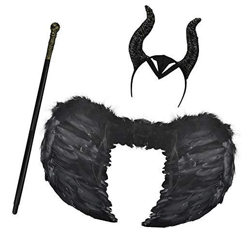 DECARETA Alas de Plumas Negras Disfraz de ala Negra, Cetro Real, Sombrero de Cuerno de Maléfica...